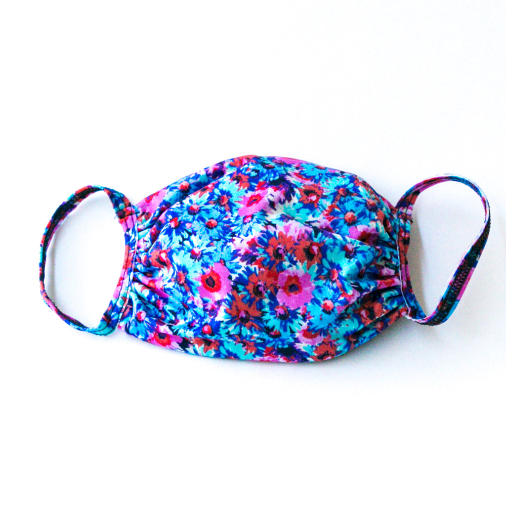 Fabric Face Mask Blue Floral Print
