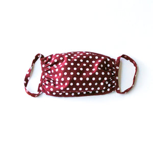 Fabric Face Mask Burgundy Polka