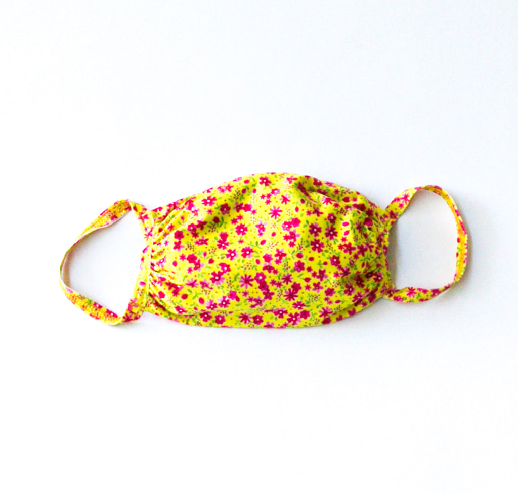 Fabric Face Mask Yellow Floral Print