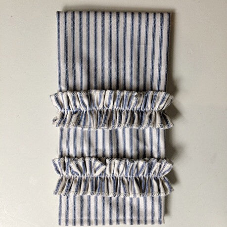 Ticking Stripe Guest Towel Navy Blue