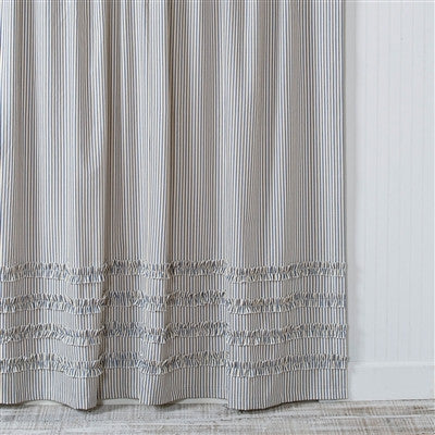 Ticking Stripe Ruffle Shower Curtain Navy Blue