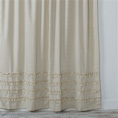 Ruffled Ticking Stripe Shower Curtain Brown