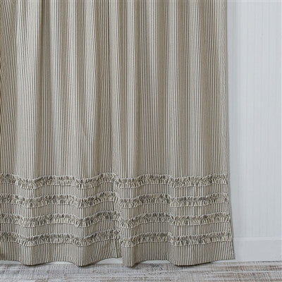 Ruffled Ticking Stripe Shower Curtain Black