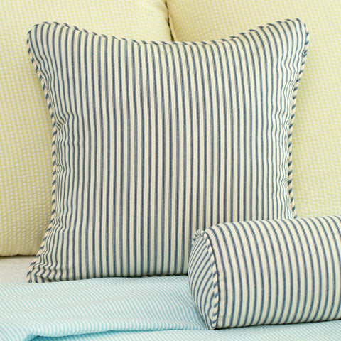 Ticking Stripe Throw Pillow Navy Blue
