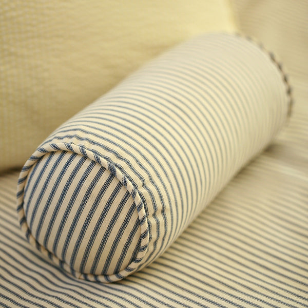 Navy Blue Ticking Stripe Bolster Neckroll Pillow