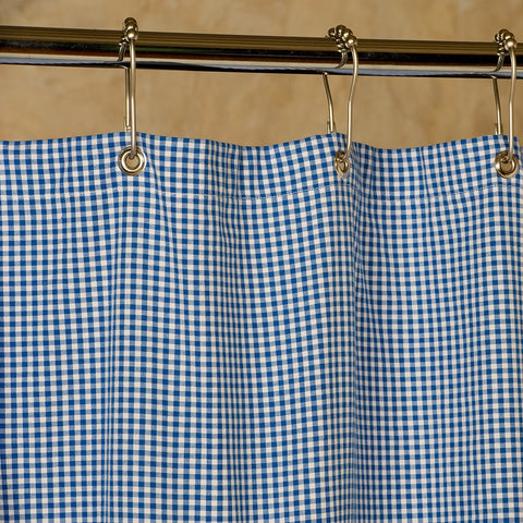 Blue and White Gingham Shower Curtain