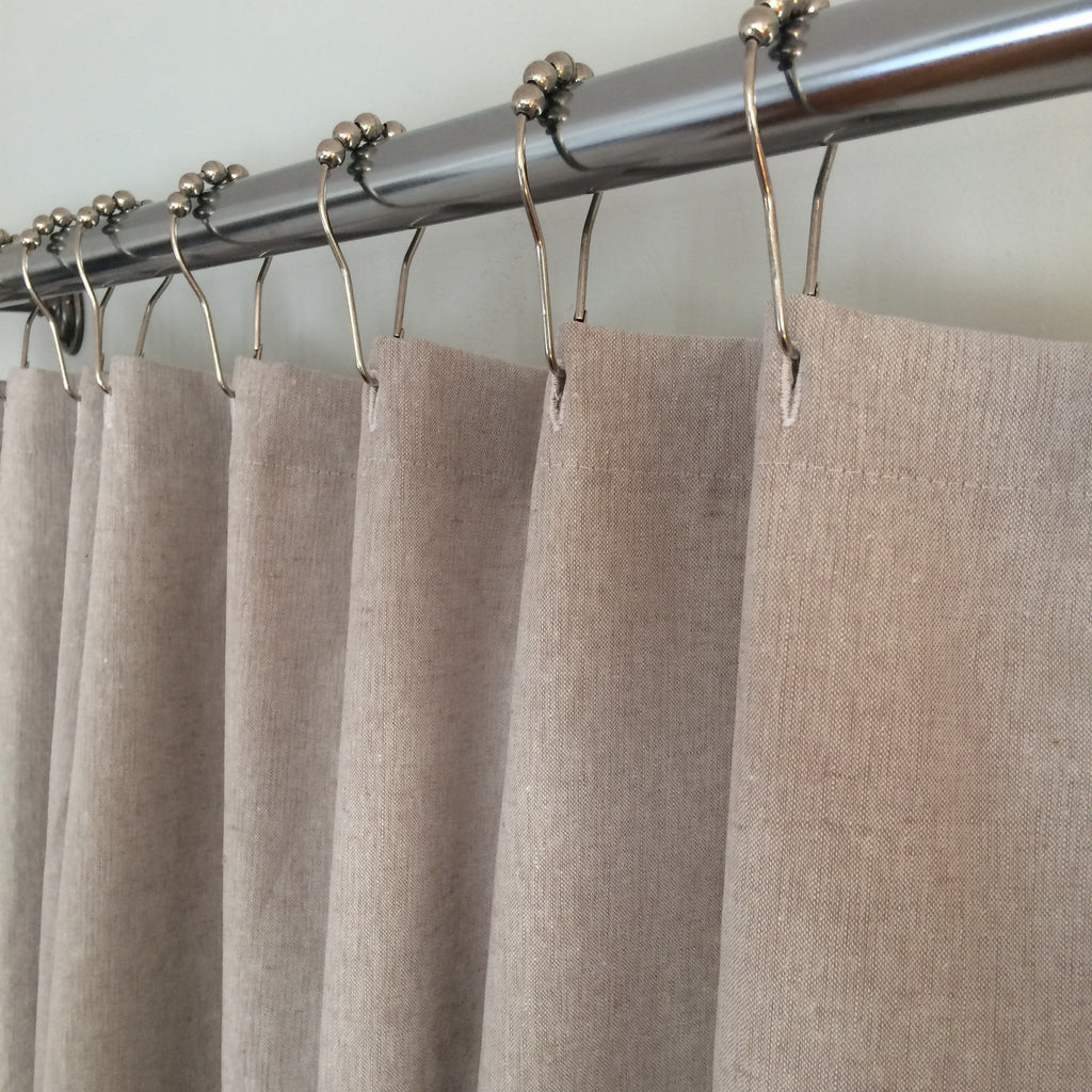 Linen Blend Fabric Shower Curtain Natural