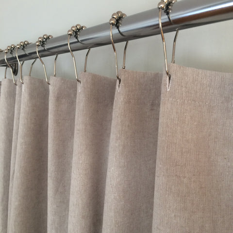 Linen Blend Fabric Shower Curtain - Natural