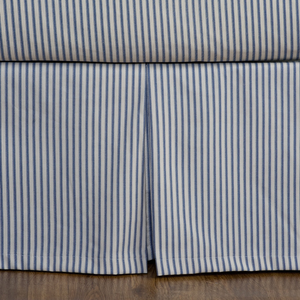Navy Blue Ticking Stripe Bedskirt Twin Full Queen King Cal King Southern Ticking Co