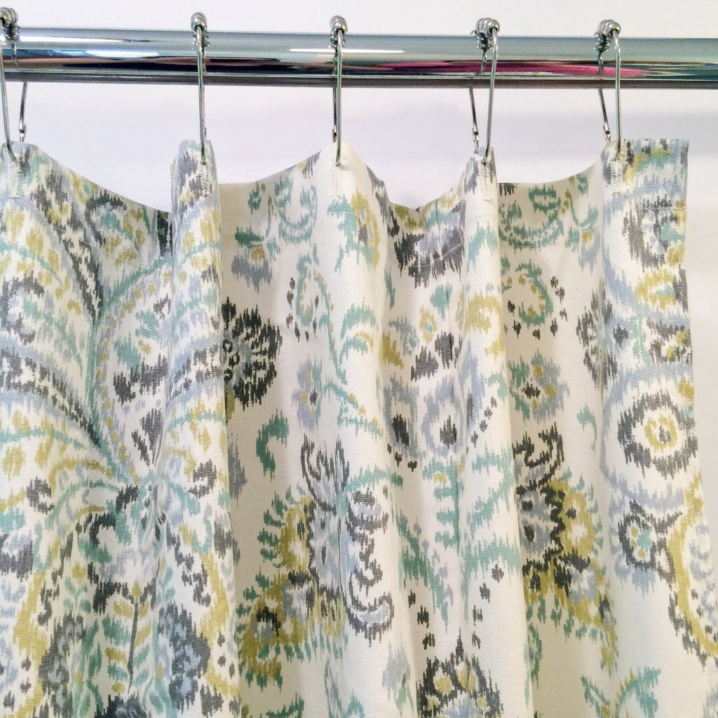Damask Fabric Shower Curtain | Gray and Aqua Multicolor