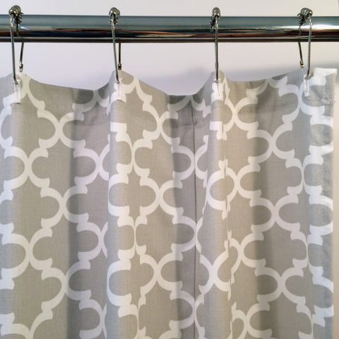 Lattice Fabric Shower Curtain | Grey and White