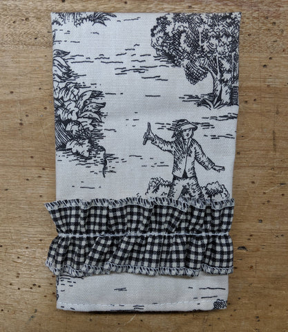 Black Toile Guest Towel with Ruffles