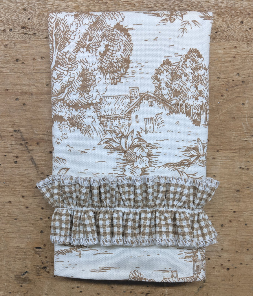 Brown Toile Guest Towel with Ruffles