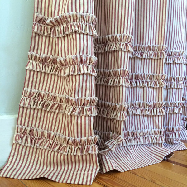Ruffled Ticking Stripe Shower Curtain Red