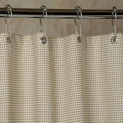 Brown Gingham Check Shower Curtain
