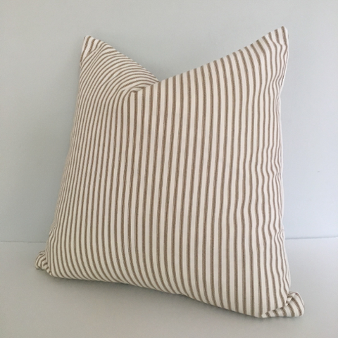 Brown Ticking Stripe Knife Edge Throw Pillow Cover 18x18