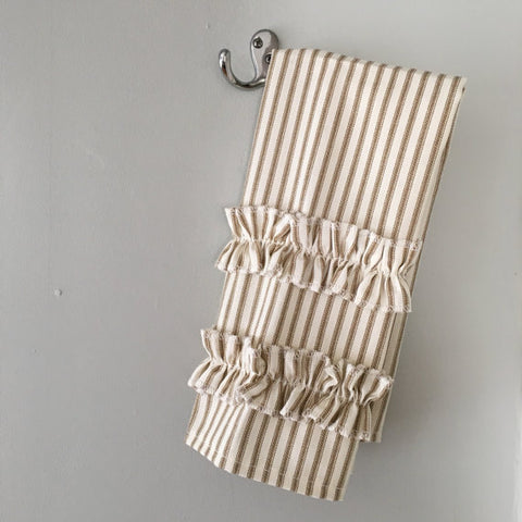 Ticking Stripe Hand Towel Brown