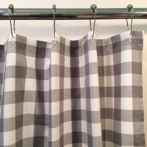 Buffalo Check Shower Curtain Gray and White IN STOCK