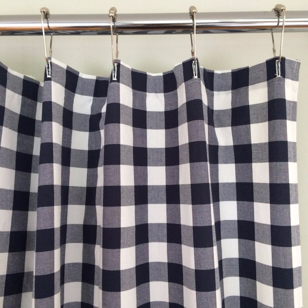 Sale Buffalo Check Shower Curtain Navy Blue And White