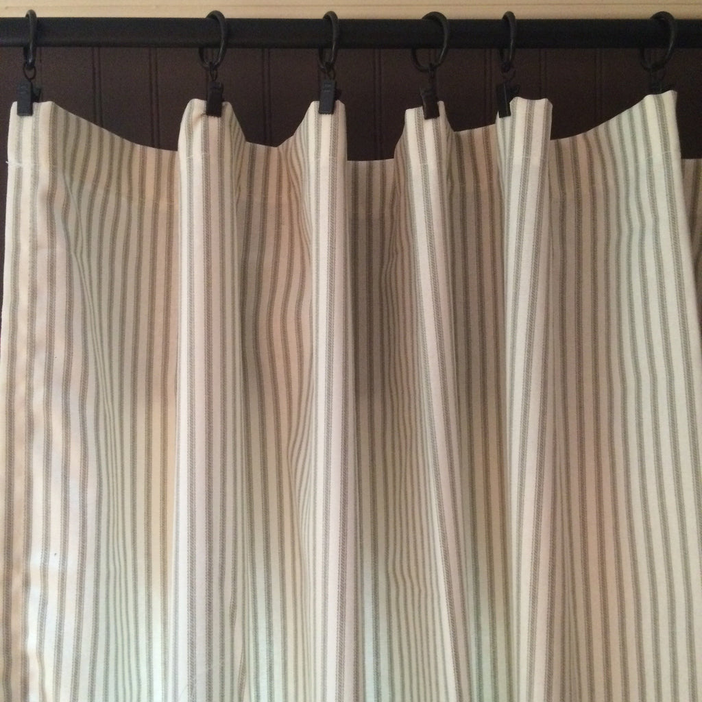 Gray Ticking Stripe Curtain Panel