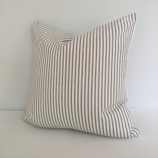 Gray Ticking Stripe Knife Edge Throw Pillow Cover 18x18