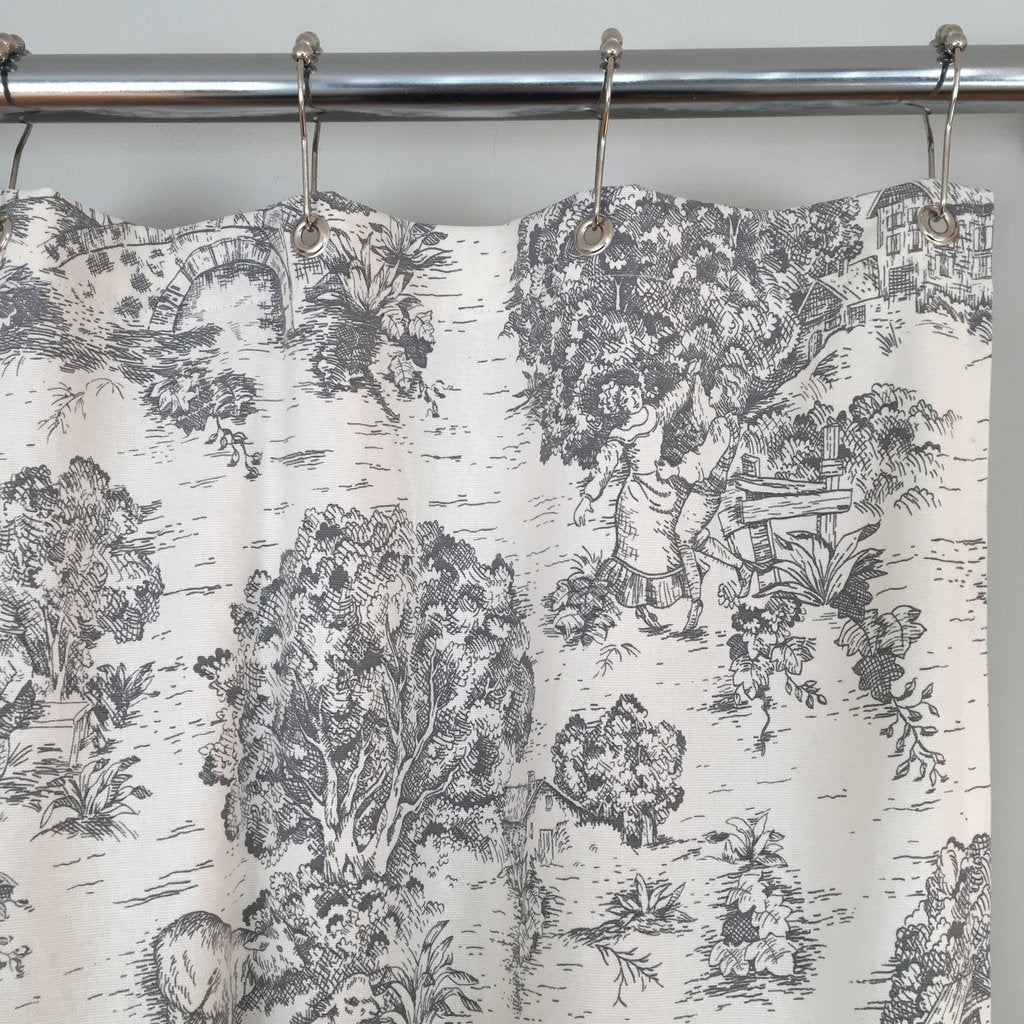 Farmhouse Shower Curtain - Toile De Jouy Fabric Gray or Brown