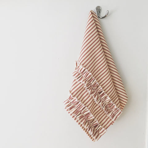 Ticking Stripe Hand Towel Red