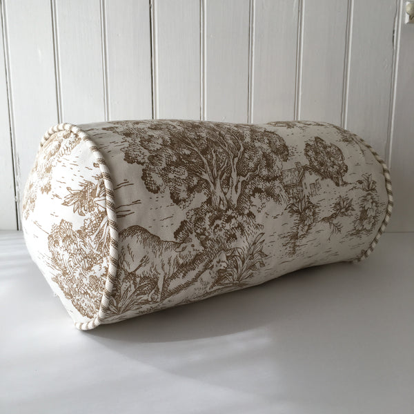 Brown French Toile Bolster Pillow