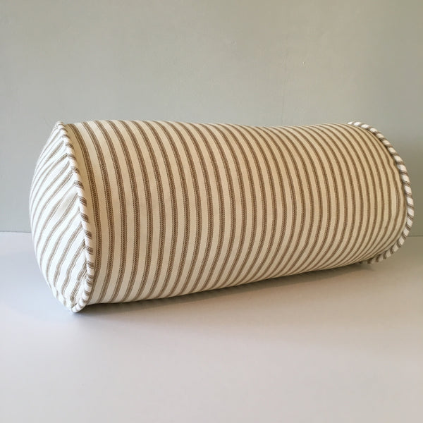 Brown Ticking Stripe Bolster Pillow
