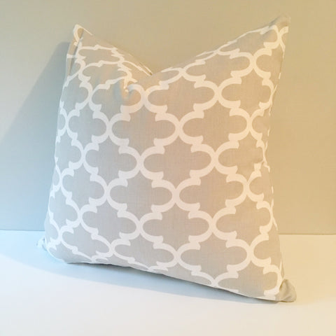 french grey lattice throw pillow