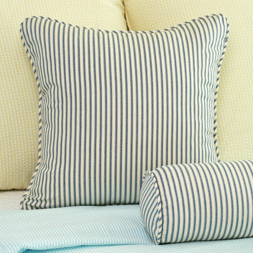 Navy Blue Ticking Stripe Throw Pillow Cover 18x18