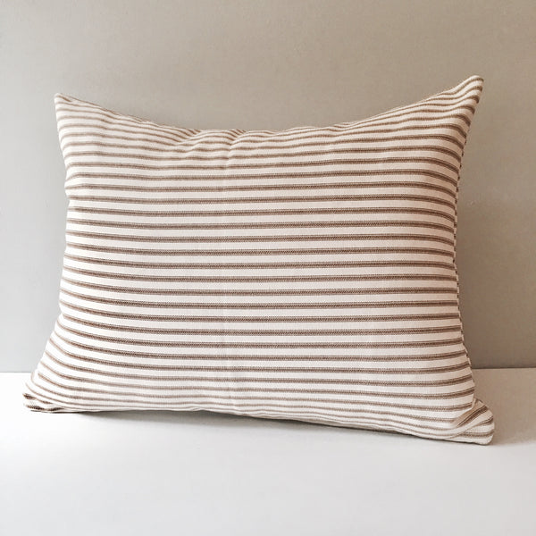 Lumbar Throw Pillow with Insert | Gray Ticking Brown Ticking or Brown Gingham