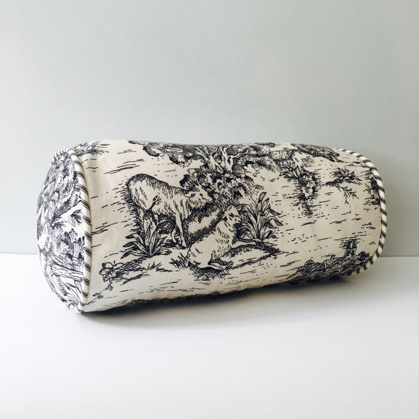 Black Toile Throw Pillow Bolster 6 x 12