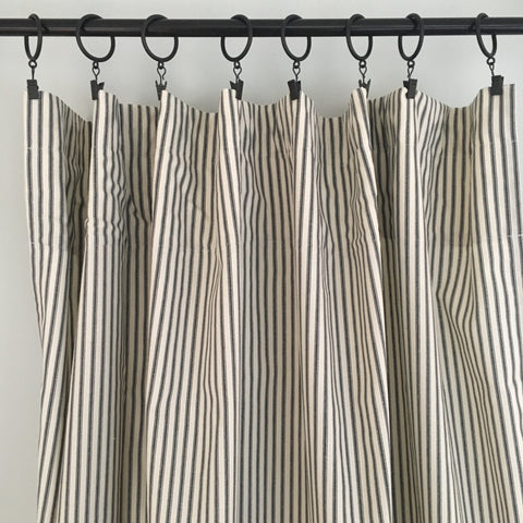 Black Ticking Stripe Curtain Panel