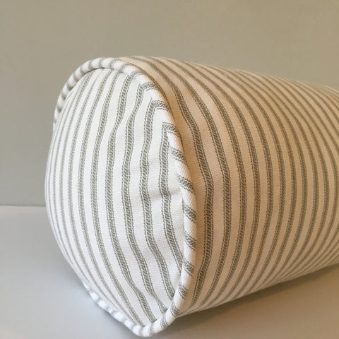 Gray Ticking Stripe Bolster Pillow