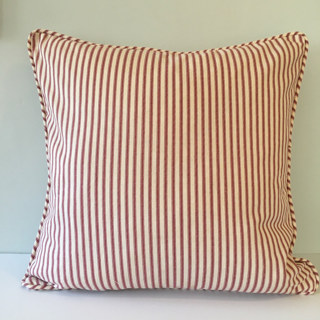 Red Ticking Stripe Throw Pillow Cover 18x18 Southern