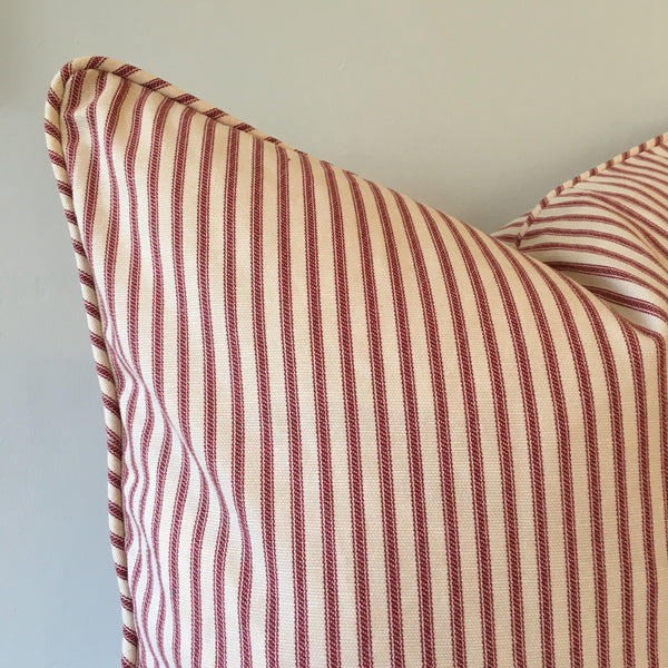Red Ticking Stripe Throw Pillow Cover 18x18