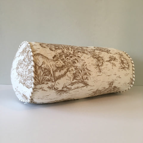Brown Toile Bolster Pillow