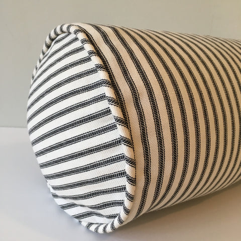 Black Ticking Stripe Bolster Pillow