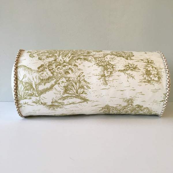 Pear Green Toile Bolster Pillow