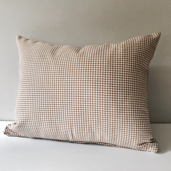 Brown Gingham Throw Pillow 14x18