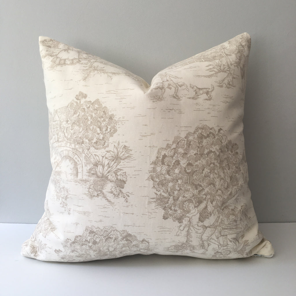 Khaki Toile Throw Pillow Cover 18x18