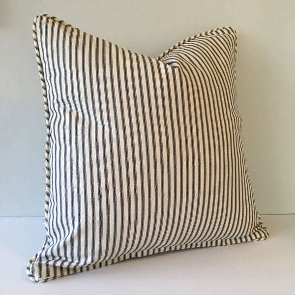 Black Ticking Stripe Throw Pillow Cover 18x18