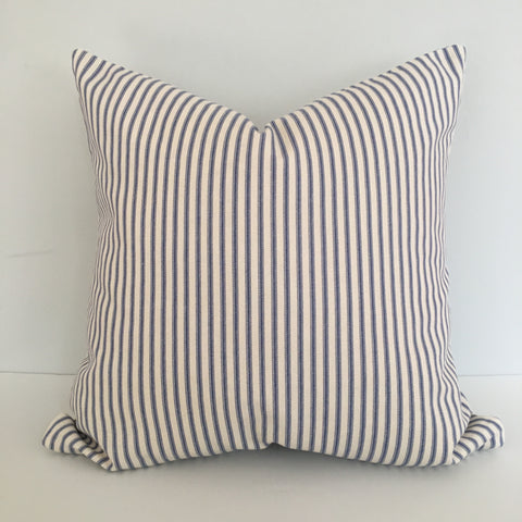 Black Ticking Stripe Throw Pillow Cover 18x18 knife edge