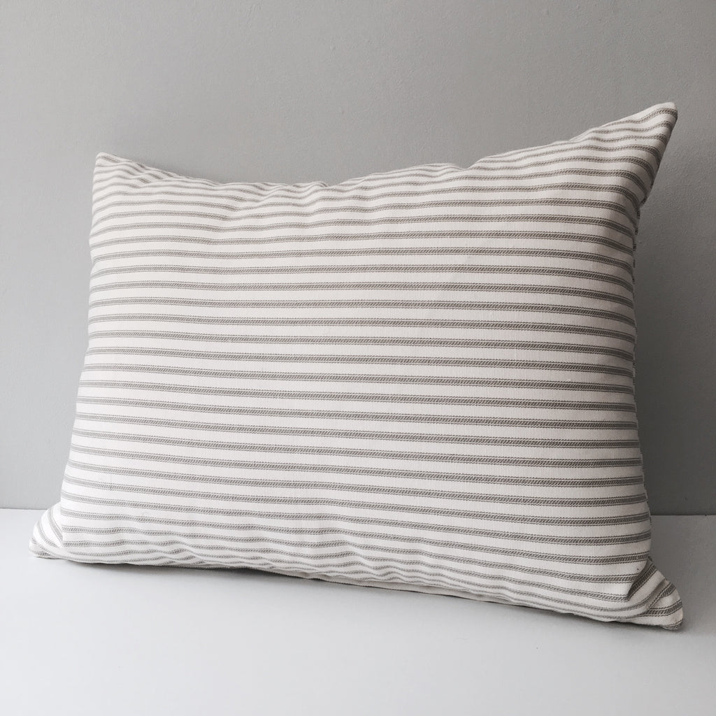 Ticking Stripe Throw Pillow with Insert | Gray or Brown