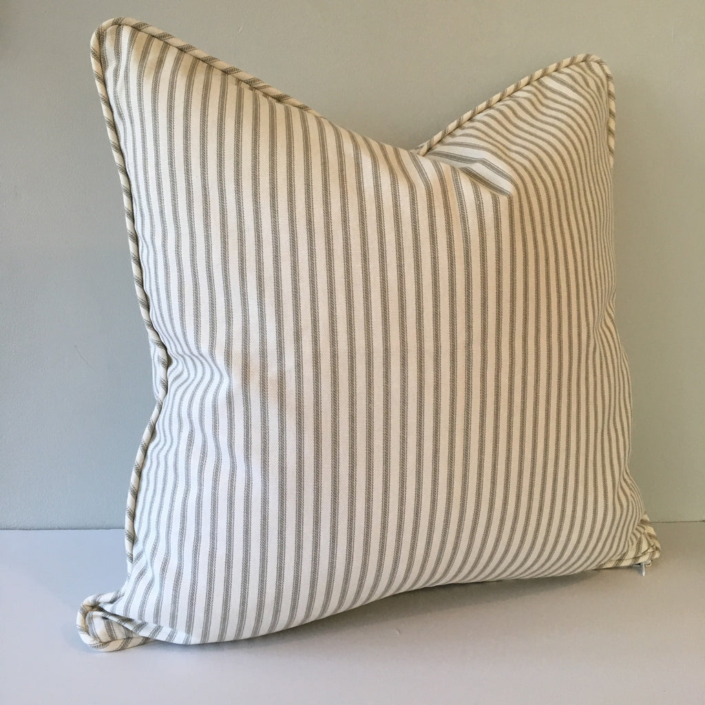 Gray Ticking Stripe Throw Pillow Cover 18x18