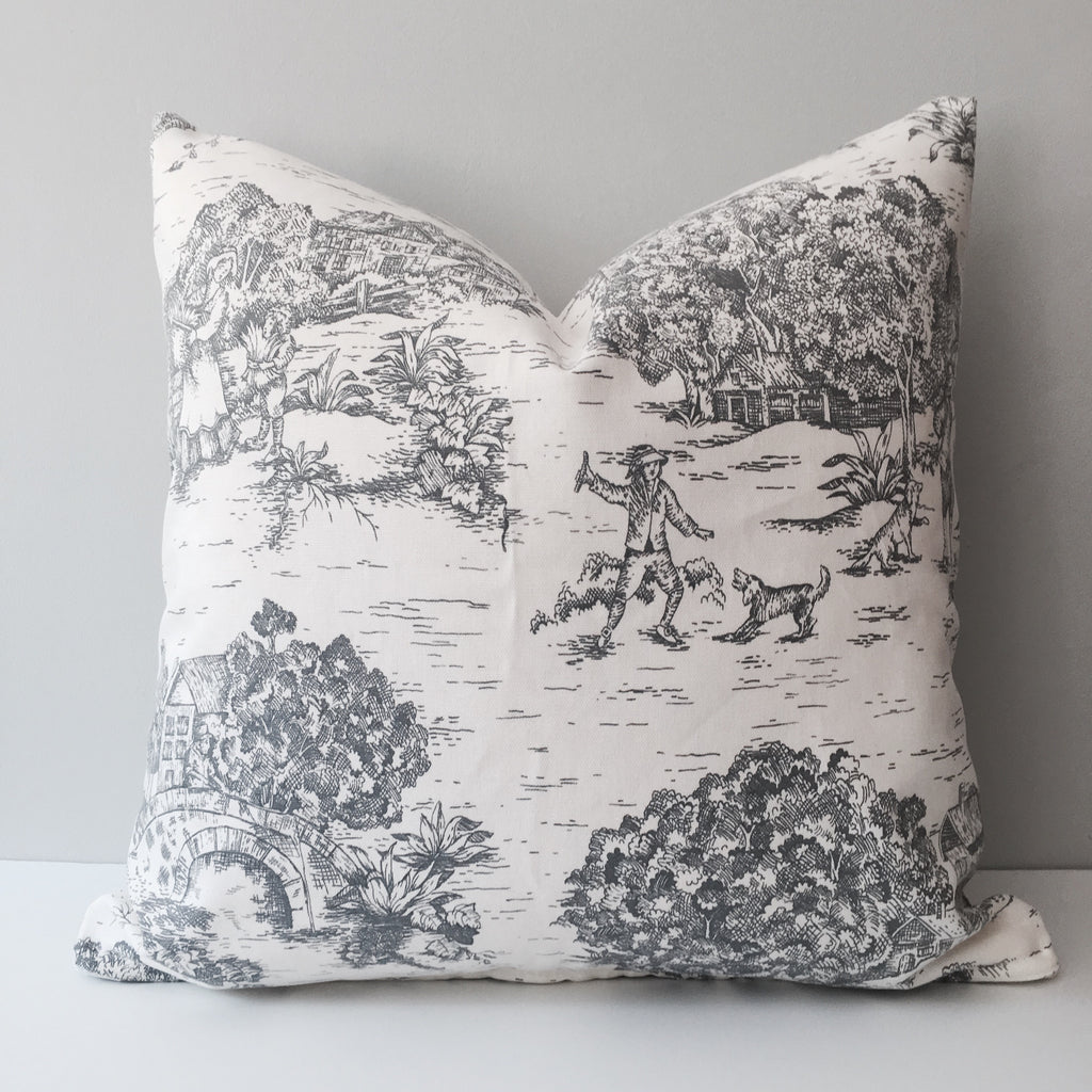 Gray Toile Throw Pillow
