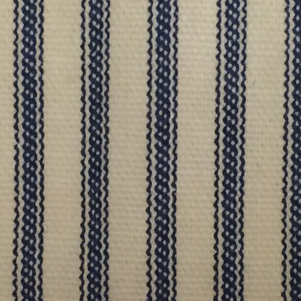 Ruffle Ticking Stripe Shower Curtain Navy Blue