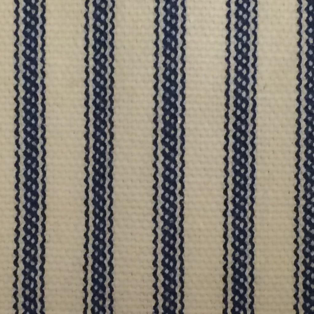 Ticking Stripe Ruffle Shower Curtain Navy Blue Southern