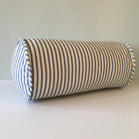 Navy Blue Ticking Stripe Bolster Pillow